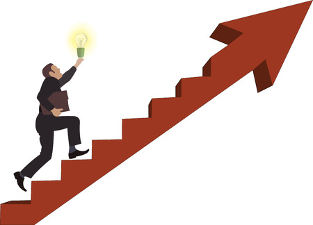 man with an idea takes the path uphill Illustration