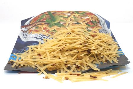 fried noodles background.
