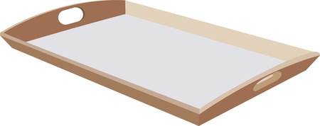 Wooden tray for food transport. Stock Illustratie