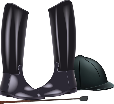 riding accessories black boots and helmet