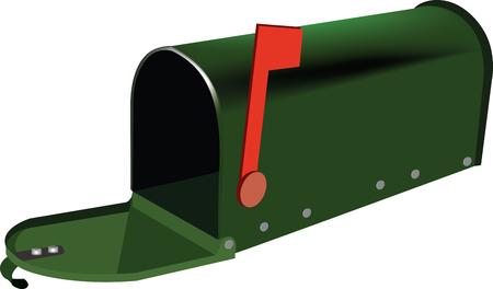 mailbox type green e-mail Vector illustration.  イラスト・ベクター素材