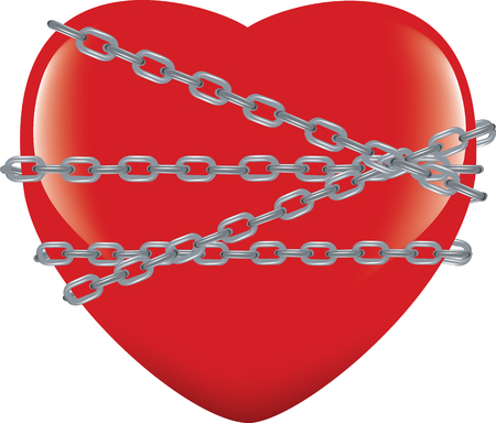 red heart immobilized and chained Stock Illustratie