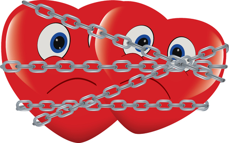 red heart immobilized and chained Illustration