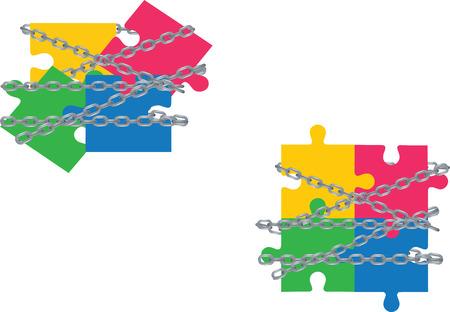 puzzles stuck in chains Banco de Imagens - 96168076