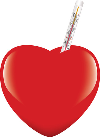 heart with heat measuring thermometer Иллюстрация