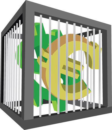cage with euro and dollar symbols vector illustration 矢量图像