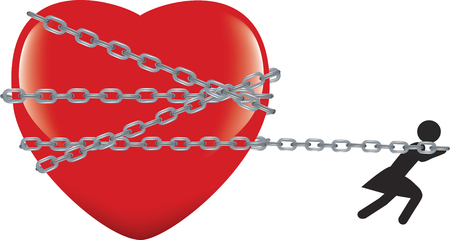 Woman pulling a chained heart