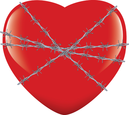 heart tied with barbed wire