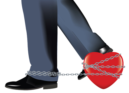 Heart chained to a foot.
