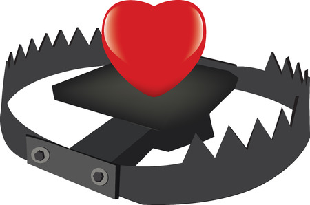 Heart above the trap. Stock Vector - 97918438