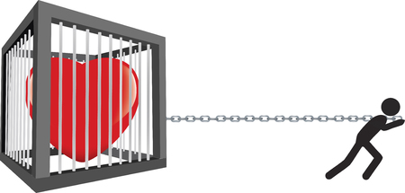 Little black man drags his cage with his heart