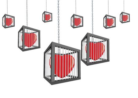 Eine Käfige mit geschlossenen Herzen hängen