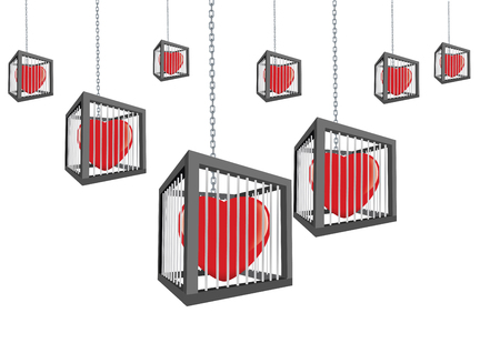 A cages with closed hearts hanging