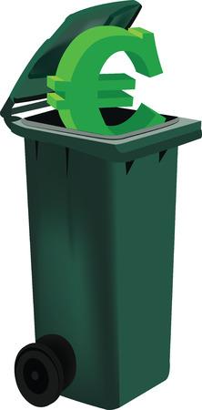 raccoglitore con coperchio verde per raccolta differenziata simbolo euro Vettoriali