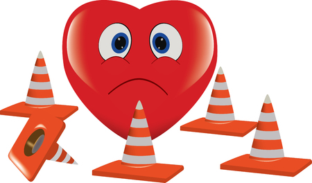 Unhappy and red heart surrounded by road cones