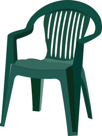 green plastic chair for outdoor and garden Illustration