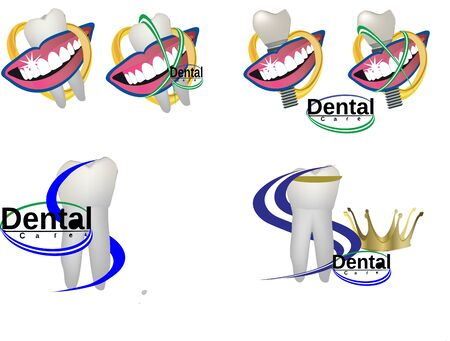 Teeth symbols with dental hygiene stickers image