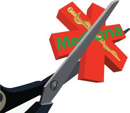 scissor medicine healthcare cut with symbol Foto de archivo - 129705515