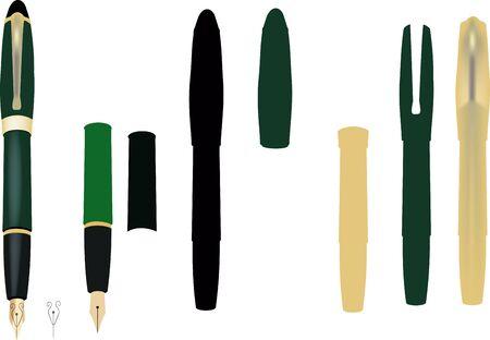 ink fountain pen in disarray with mockup nib
