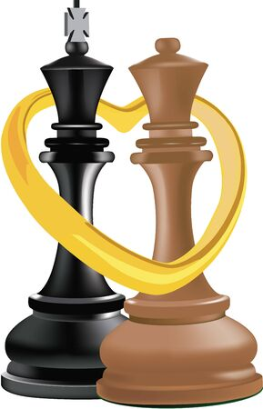 chess black king and white queen with heart ring