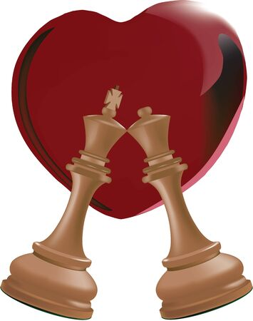 chess king and queen side by side with red heart