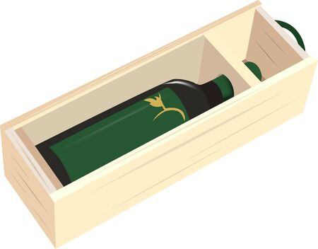 wooden gift box containing black wine bottle