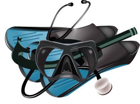 medical control sport underwater stethoscope fins and mask Иллюстрация