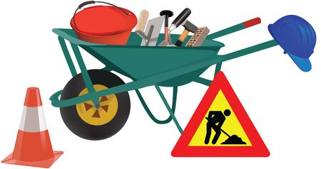 wheelbarrow working with road accessories and work signals