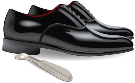 shiny black reception shoes with shoehorn 向量圖像