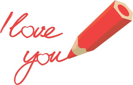 red pencil writes I love you on the sheet 向量圖像