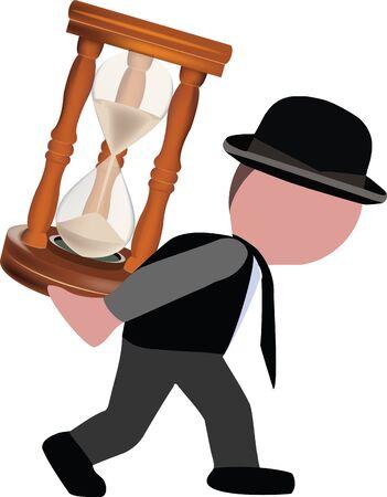 person carries an hourglass on his back Vektoros illusztráció