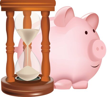 sand hourglass with piggy bank-shaped pig  イラスト・ベクター素材
