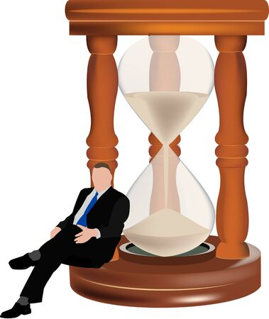 sand hourglass with waiting person sitting next to it