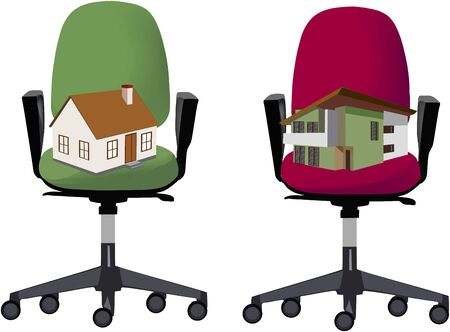 two office chairs with model house and villa