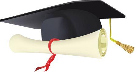 certificate tied with ribbon and graduate hat Vektorgrafik