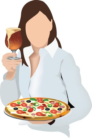female person holding a round pizza