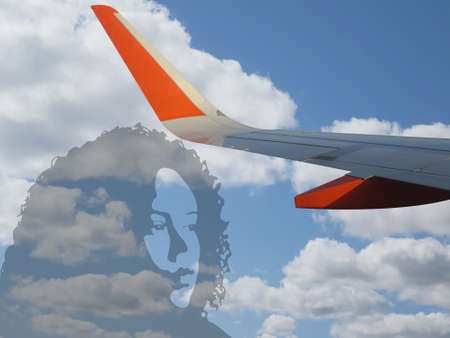 plane wing in the sky with girl face gradient