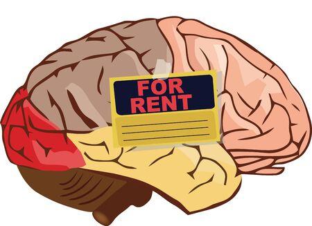 human brain organ with placard for rent Ilustração