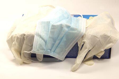 latex gloves with antivirus mask