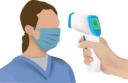 nurse with gown and mask with scanner for measuring temperature