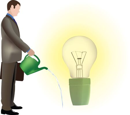 A person waters their own light bulb idea