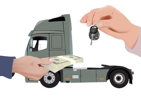 truck sales, buyer and seller dealer Illustration
