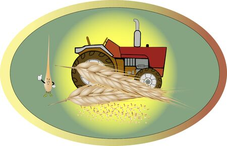 sticker with tractor for the countryside and grain ear