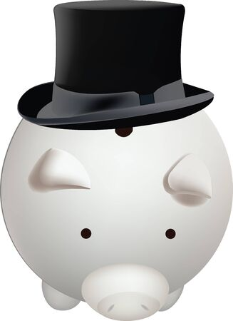 black top hat in the back of a piggy bank in the shape of a pig