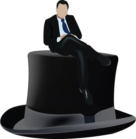 black cylinder hat with over sitting distinct person manager Ilustración de vector