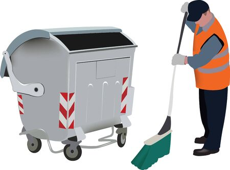 ecological operator cleaning with aluminum dumpster