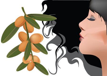 dark woman profile with fruits of aesthetic argan Vettoriali