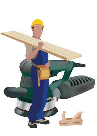 person in work suit with work tool on his shoulders Иллюстрация