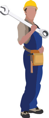 person in work suit with work tool on his shoulders Vectores