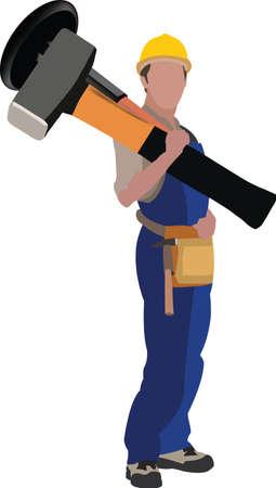 person in work suit with work tool on his shoulders Ilustración de vector